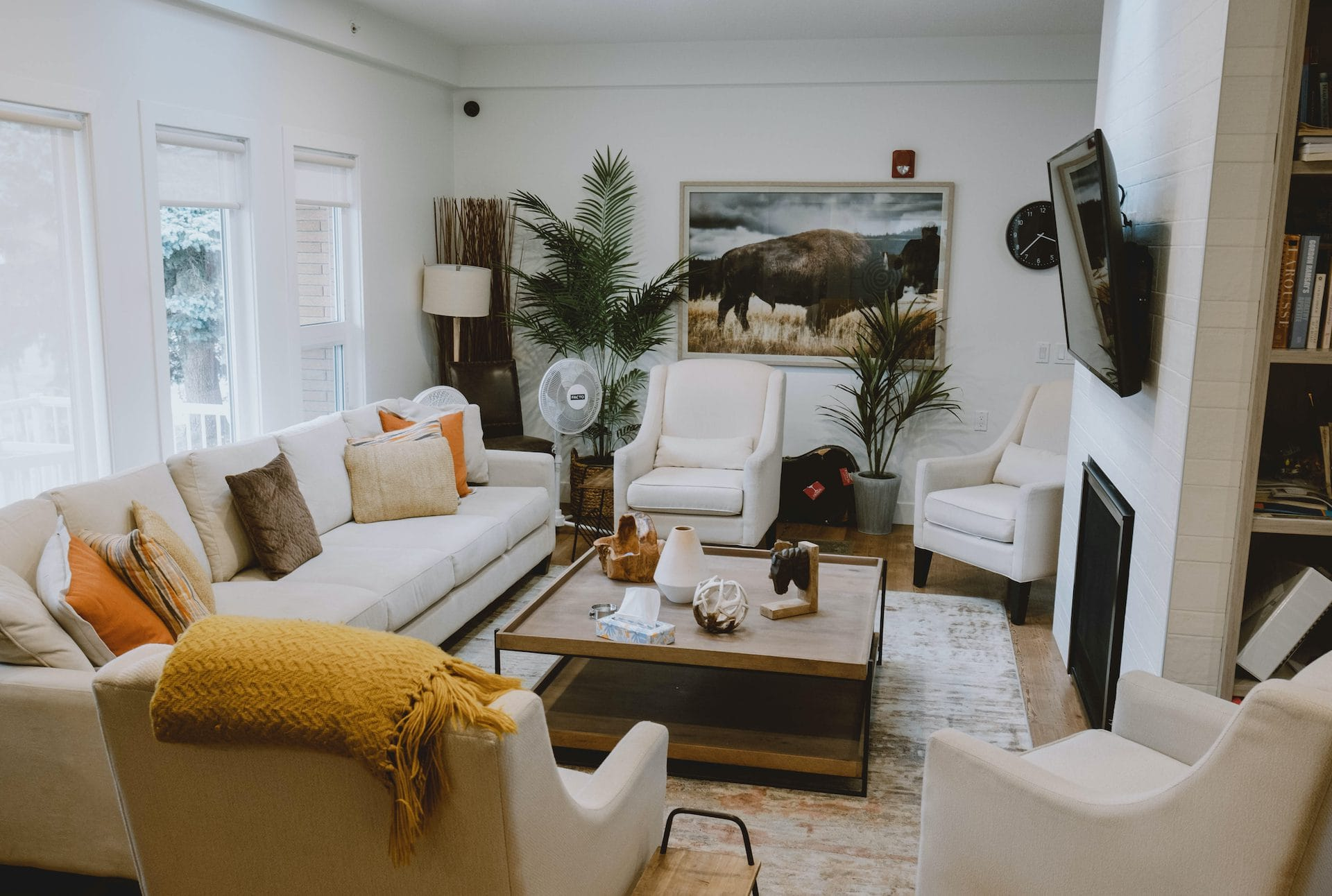 Lounge area with couches and coffee table