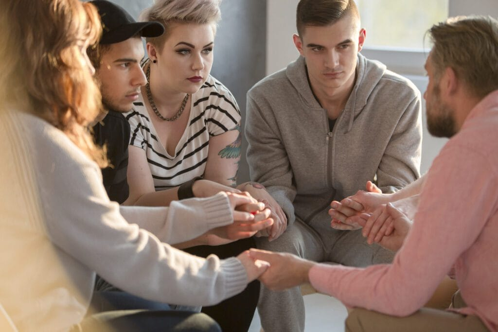 Group of people in group therapy